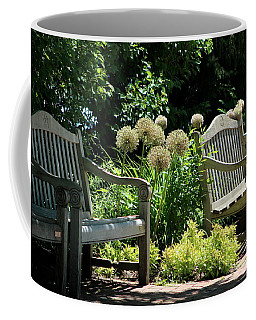 Park Benches At Chicago Botanical Gardens Coffee Mug