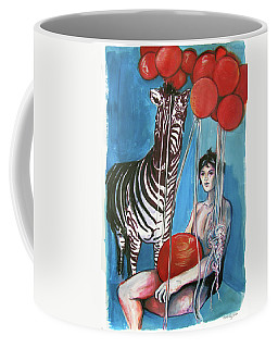 Coffee Mug featuring the painting Party Of One Zebra Boy by Rene Capone