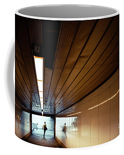 Passengers In A Hurry At The End Of A Tunnel At The Entrance To The Metro Station. Coffee Mug
