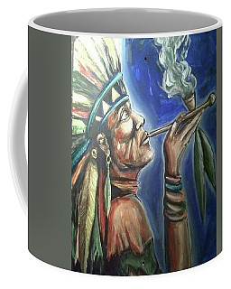Coffee Mug featuring the painting Peace Pipe by Blake Emory