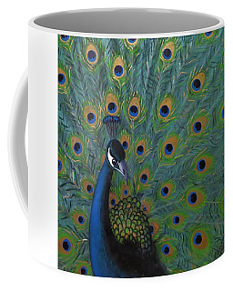 Coffee Mug featuring the painting Peacock by Joan Stratton