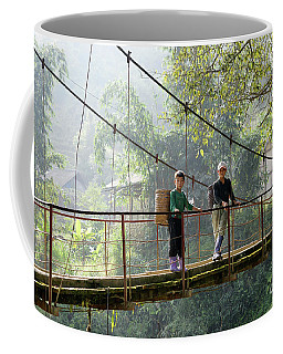 People And Children From Sapa, Mountainous Area Of Northern Vietnam In Their Daily Life. Coffee Mug