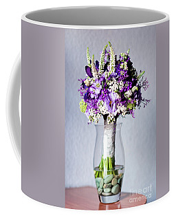 Perfect Bridal Bouquet For Colorful Wedding Day With Natural Flowers. Coffee Mug