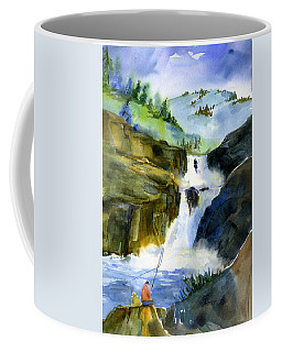 Petroglyph Falls Fishing Coffee Mug