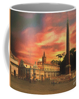 Coffee Mug featuring the photograph Piazza Del Popolo Rome by Leigh Kemp