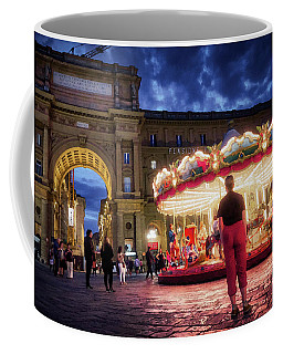 Piazza Della Reppublica At Night In Firenze With Painterly Effects Coffee Mug
