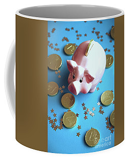 Piggy Bank On The Background With The  Chocoladen Coins Coffee Mug