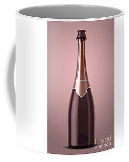 Pink Champagne Bottle Open Neck Coffee Mug