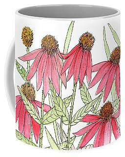 Pink Coneflowers Gather Watercolor Coffee Mug