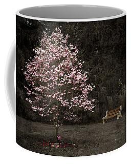 Pink Dogwood Tree And A Bench Coffee Mug