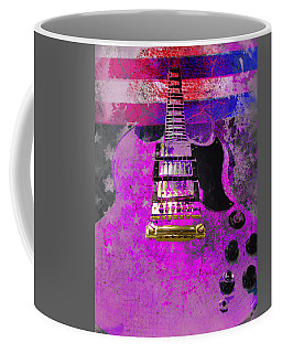 Coffee Mug featuring the digital art Pink Guitar Against American Flag by Guitar Wacky
