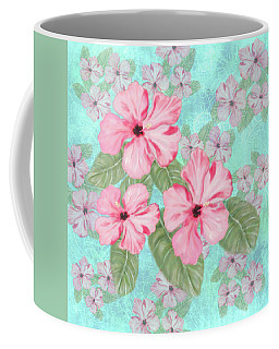 Pink Hibiscus Print On Aqua Coffee Mug