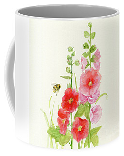 Pink Hollyhock Watercolor Coffee Mug