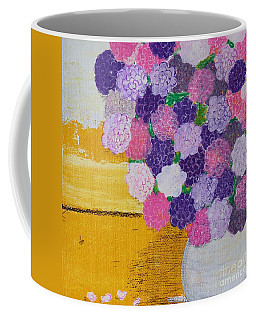 Coffee Mug featuring the painting Pink Hydrangeas Or Are They Peonies? by Kim Nelson