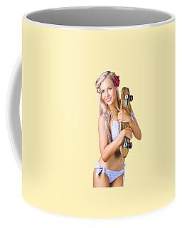 Coffee Mug featuring the photograph Pinup Woman In Bikini Holding Skateboard by Jorgo Photography - Wall Art Gallery