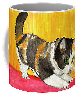 Coffee Mug featuring the painting Playful Kitten by Dobrotsvet Art