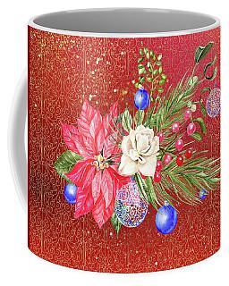 Poinsettia With Blue Ornaments  Coffee Mug