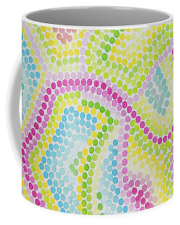 Pointillism - Palm Beach Pink And Green Coffee Mug