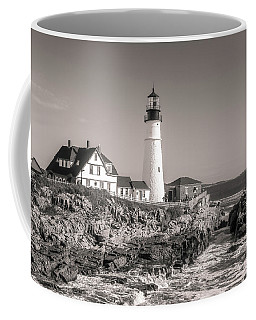 Coffee Mug featuring the photograph Portland Head Light Black And White by Dan Sproul
