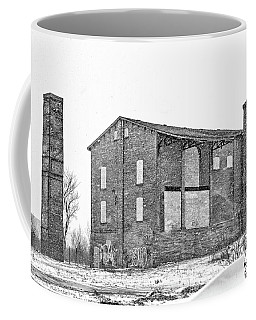 Powerless Station In A Blizzard Bw Coffee Mug