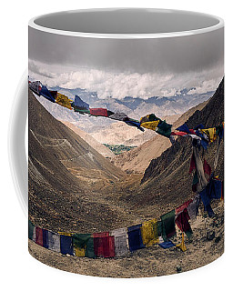 Coffee Mug featuring the photograph Prayer Flags In The Himalayas by Whitney Goodey