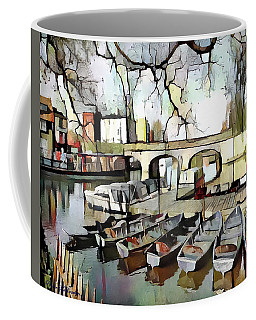 Coffee Mug featuring the digital art Punting On The Thames - Watercolour by Pennie McCracken