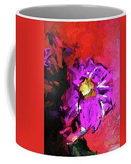 Purple And Yellow Flower And The Red Wall Coffee Mug