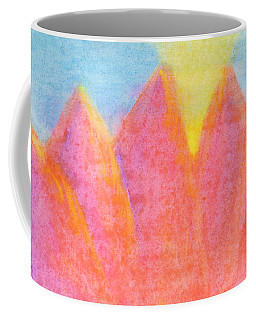 Coffee Mug featuring the painting Radiance Mountain Abstract by Dobrotsvet Art