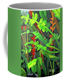 Coffee Mug featuring the painting Rain Forest Memories by Linda Feinberg