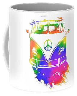 Coffee Mug featuring the digital art Rainbow Colored Peace Bus by David King