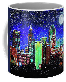 Raleigh Skyline Winter Night 16 X 20 Ratio Coffee Mug