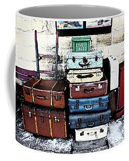 Ramsbottom.  Elr Railway Suitcases On The Platform. Coffee Mug