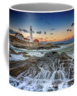 Coffee Mug featuring the photograph Receding Cascade At Portland Head by Rick Berk