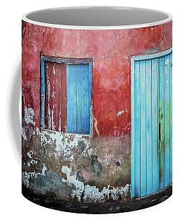 Red, Blue And Grey Wall, Door And Window Coffee Mug