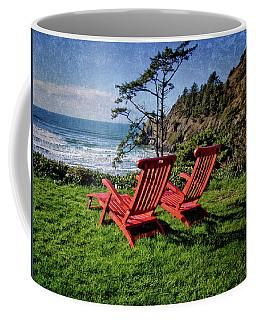 Red Chairs At Agate Beach Coffee Mug