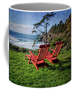 Red Chairs At Agate Beach Coffee Mug