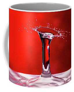 Coffee Mug featuring the photograph Red Column Water Drop Collision by SR Green