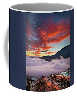 Red Dawn At Rice Terraces Coffee Mug