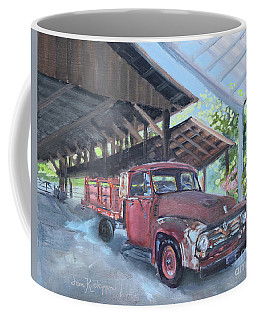 Coffee Mug featuring the painting Red Ford And Pink Flowers by Jan Dappen