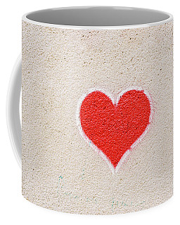 Red Heart Painted On A Wall, Message Of Love. Coffee Mug