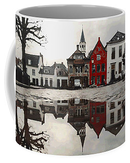 Coffee Mug featuring the digital art Red House With Reflection by Shelli Fitzpatrick
