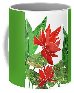 Red Lotus Flower - Botanical, Floral, Tropical Art - Modern, Minimal Decor - Red, Green Coffee Mug