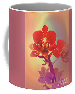 Coffee Mug featuring the mixed media Red Orchid  by Rachel Hannah
