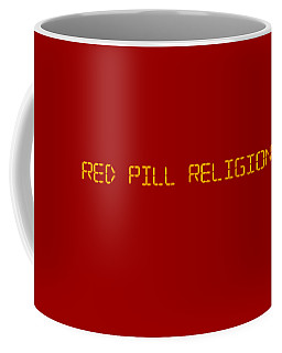 Red Pill Religion Digital Clock On Red Coffee Mug