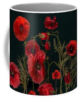 Red Poppies On Black Coffee Mug