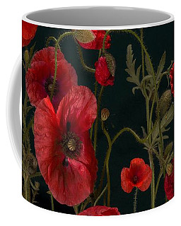Red Poppies On Black Coffee Mug