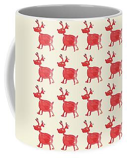 Red Reindeer Pattern Coffee Mug