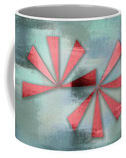 Red Triangles On Blue Grey Backdrop Coffee Mug
