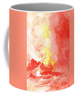 Red Village Abstract 1 Coffee Mug