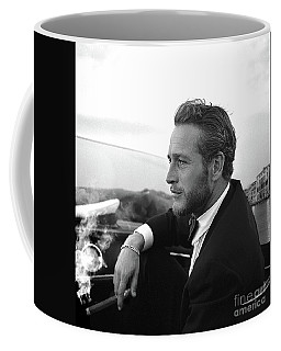 Reflecting, Paul Newman, Movie Star, Cruising Venice, Enjoying A Cuban Cigar, Black And White Coffee Mug